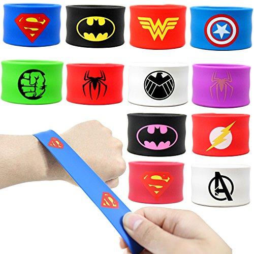 Coolinko Superhero Slap Bracelet for Kids Boys & Girls Birthday Party Supplies Favors (12 pack)