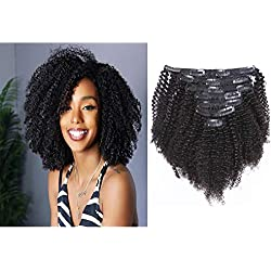 Loxxy Afro Kinky Curly Clip In Hair Extensions Natural Black Hair Clip Ins Virgin 3C 4A Clip In Hair Extensions For African Americans Black Women 8A Grade Kinkys Curly Human Hair Clip Ins 10 Inch