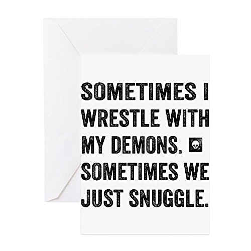 CafePress Wrestle With My Demons Greeting Cards Greeting Card (10-pack), Note Card with Blank Inside, Birthday Card Glossy -
