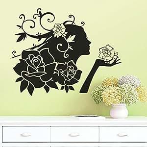 YTJ-hada de la flor tallada de la sala de estar del dormitorio de fondo extraíble etiqueta engomada de la pared resistente al agua