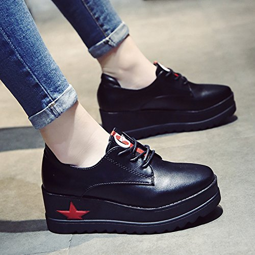 zapatos aumentó alumnos 39 Bizcochuelo pequeño Casual rojas zapatos salvajes cuero KPHY zapatos de mujer cuadrado grueso de solo Izgqvw