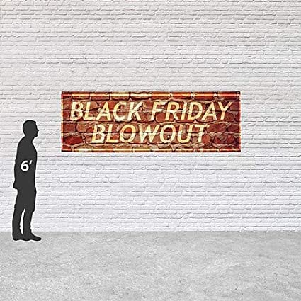 CGSignLab 12x4 Ghost Aged Brick Heavy-Duty Outdoor Vinyl Banner Black Friday Blowout