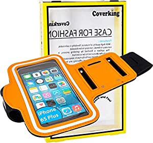 For iPhone 6S Plus - Coverking Sports Running Jogging Cycling ArmBand Pouch Key Strap Holder -Orange