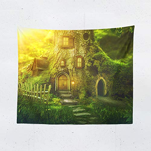 Enchanted Fairies Wall Art - Enchanted Forest Tapestry Wall Hanging Fantasy Magical Forest Green Fairy Tapestries Dorm Room Bedroom Decor Art - Printed in the USA - Small to Giant Sizes