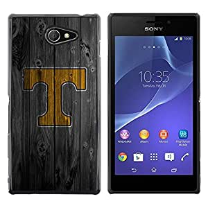 LECELL -- Funda protectora / Cubierta / Piel For Sony Xperia M2 -- T Initial Wood --