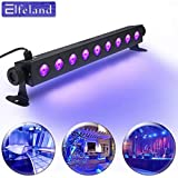 UV LED Black Light Fixtures,Elfeland 27W 9LED UV Light Bar Black Light Fixture Metallic Blacklight Disco Light Stage Light for Glow Party UV Body Paint Holiday Disco DJ Poster Tapestry