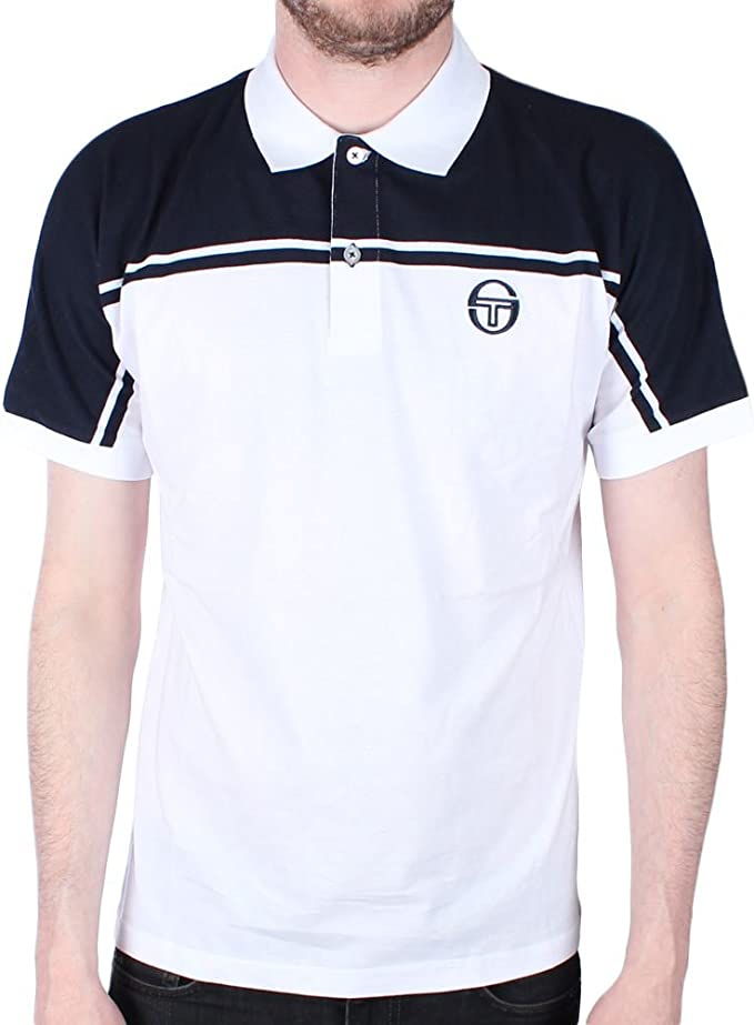 Sergio Tacchini New Young Line Polo Shirt White/Navy 3XL: Amazon ...