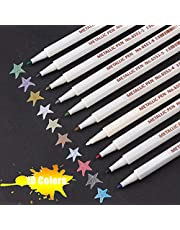 Metallic Marker Pens, Ariel-gxr Metallic Colored Maker Pen, 10 Colors Art Markers for DIY Photo Album/Any Surface/Card Making/Adults Coloring Books/Kids Doodling/Graphic Drawing Manga