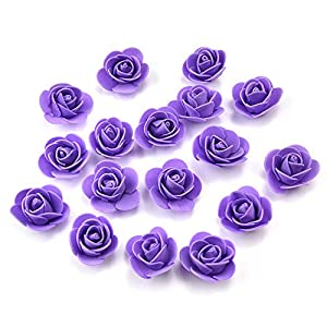 Fake flower heads in bulk Wholesale for Crafts PE Foam Mini Roses Head Artificial Flowers DIY Party Birthday Home Decor Wedding Decoration for Scrapbooking Gift Box DIY Wreath 50pcs 3CM (Purple) 3
