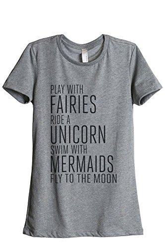 Thread Tank Fairies Unicorn Mermaids Women's Relaxed T-Shirt Tee Heather Grey X-Large