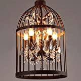 Ruanpu Industrial 13.78″ 4 Lights Pendant Retro Chandelier Vintage Ceiling light lamp Bird Cage Shaped Bedroom Pendant with Crystal Accent (Rust) For Sale