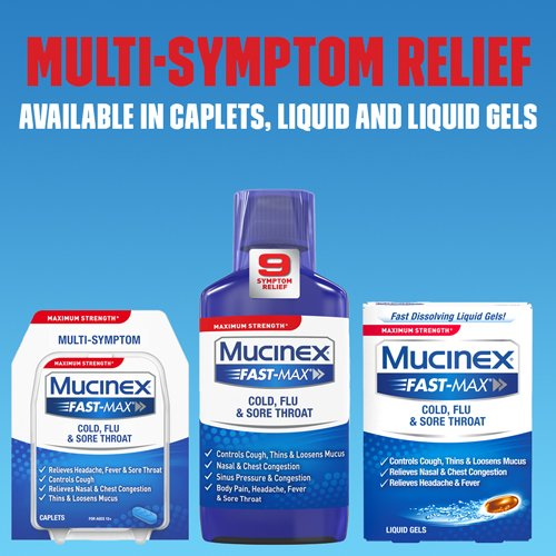 Mucinex Fast-Max Max Strength, Cold, Flu, & Sore Throat Liquid Gels 16 ea