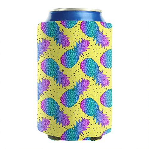 2-Pack Durable Collapsible Fully Stitched Insulated Bottles Holder Neoprene Beverage Coolers 12 to 16 oz pineapple fruit creative trendy yellow Cold Drink Soda Water Beer Can Sleeves]()
