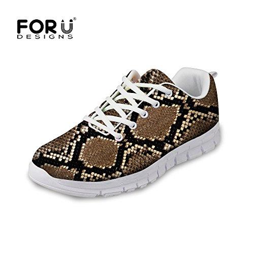 För U Designar Mode Leopard Print Man & Kvinna Lätta Mesh Löparskor Brun Rand