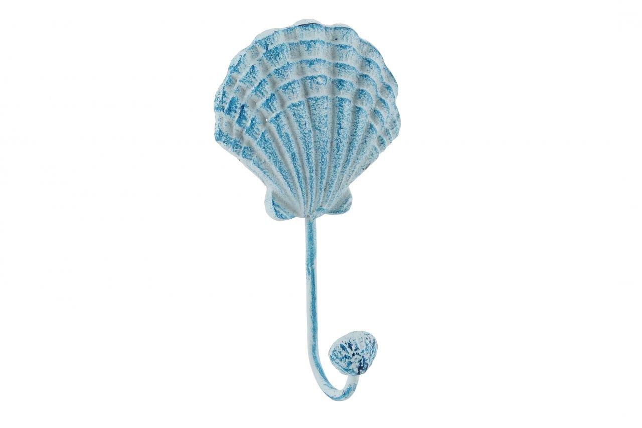 Blue Nautical Metal Seashell Single Wall Hanging Hook Bathroom Seaside Chic