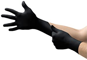 Microflex MK-296 Black Disposable Nitrile Gloves, Latex-Free, Powder-Free Glove for Mechanics, Automotive, Cleaning or Tattoo Applications, Medical/Exam Grade, Size Medium, Box of 100 Units