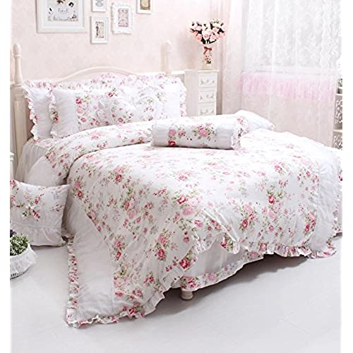 Wolala Home Rural Style Collection Rose Flower Printing Bedding Sets White  Lace Ruffled Duvet Cover Bed Sheets Girls Bedding Set 4pcs (Full)