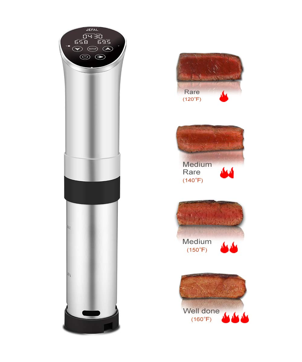 JEFAL Sous Vide Circulator 1000 Watts with Recipe, Digital LED Immersion Accurate Cooker, Stainless Steel Body & Base, Silver Body