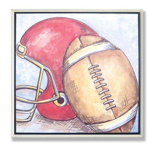 Prints Football Lithographs (The Kids Room by Stupell Football And Helmet Square Wall Plaque, 12 x 0.5 x 12, Proudly Made in USA)