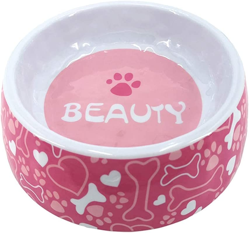 Small Pink Dog Bowls Princess Colorful Pink Puppy Melalmine Food Water Bowls with Rubber Mat for Dogs Cats Size S & L(Pink ,2 Pack)
