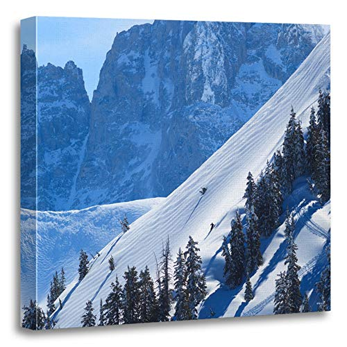 Emvency Painting Canvas Print Artwork Decorative Print Jackson Skiing in Wyoming Hole Ski Snow Back Back Country Cold Wooden Frame 20x20 inches Wall Art for Home Decor ()