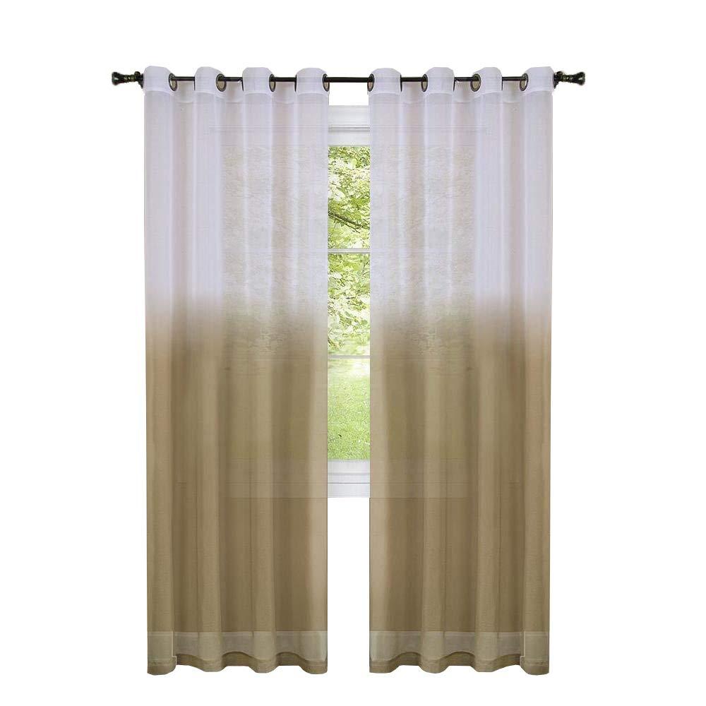 2 Pack: GoodGram Semi Sheer Ombre Chic Grommet Curtain Panels - Assorted Colors (Burgundy)