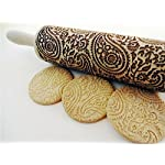 """Paisley Embossed Rolling Pin 16"""" Engraved Rolling Pin for Baking + Cute and Lightweight Wooden Rolling Pin for Kids and Adults to Make Cookie Dough – Attractive Professional Cookie Angel Food 18 START HAVING FUN IN THE KITCHEN WITH ALL YOUR FAMILY. Our textured rolling pin 16 Inch is very easy to use, so have some fun using this engraved rolling pin with your whole family. This embossed rolling pin can be used for fancy pastry decorations, cake decorations, shortbreads, basic biscuits, play dough, and even clay. This wood rolling pin can also be used as a kid's toy. EASY TO CLEAN:You only need to wash under running water and dry in the air,they will not take up too much space in the kitchen drawer ROLLING-PINS can be a really nice housewarming and pretty gift for your friends, kids and your kitchen."""
