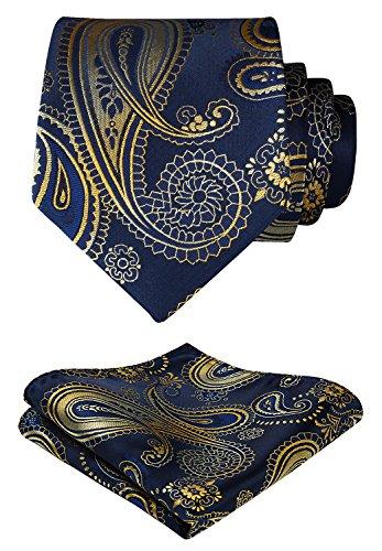 (HISDERN Paisley Tie Handkerchief Woven Classic Men's Necktie & Pocket Square Set,Gold & Blue,One Size)