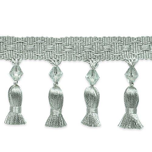 Expo International Tied Tassel Trim with Beads, 10 yd, Seafoam