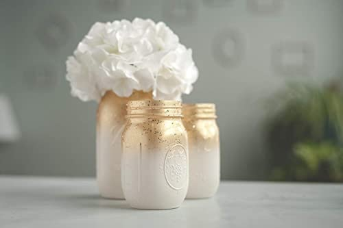 Set of 3 Ombre Gold Mason Jar Vases for Wedding Centerpieces or Home Decor Organizing Storage Jars