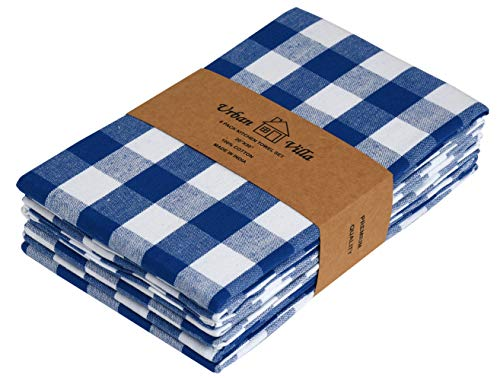 - Urban Villa Kitchen Towels, Premium Quality, 100% Cotton Dish Towels,Mitered Corners, Ultra Soft (Size: 20X30 Inch), Blue/White Highly Absorbent Bar Towels & Tea Towels - (Set of 6)