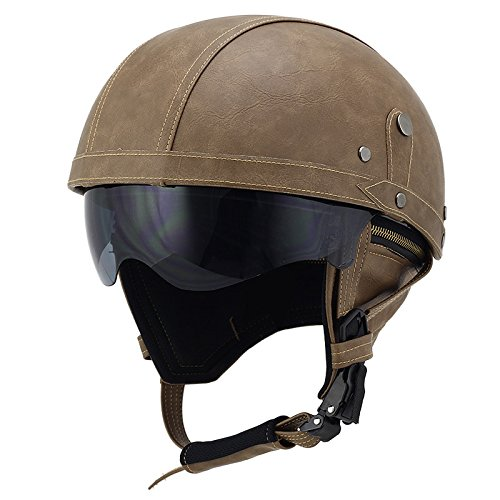 Woljay Vintage Half Helmet (Brown with Drop Down Sun Lens)