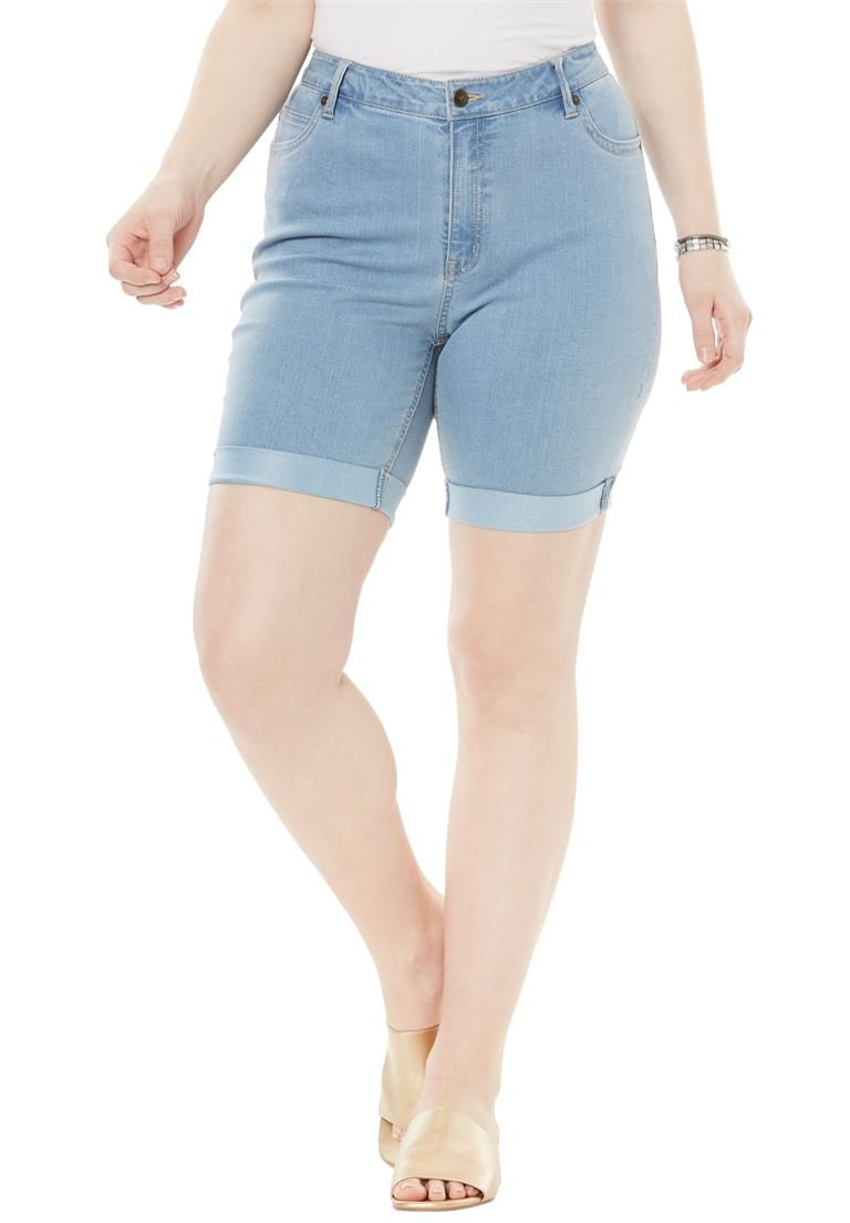 Women's Plus Size Cuff Denim Shorts with Invisible Stretch Waistband