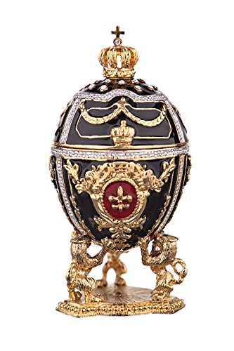 danila-souvenirs Russian Faberge Style Egg/Trinket Jewel Box Lions & Russian Emperor's Crown Black - Box Jewel Egg