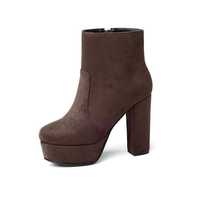 TWGDH Botines de tacón grueso de tobillo para mujer faux Suede confort-Sole diario Vestido de fiesta de boda usando zapatos de tacón alto: Amazon.es: Ropa y ...
