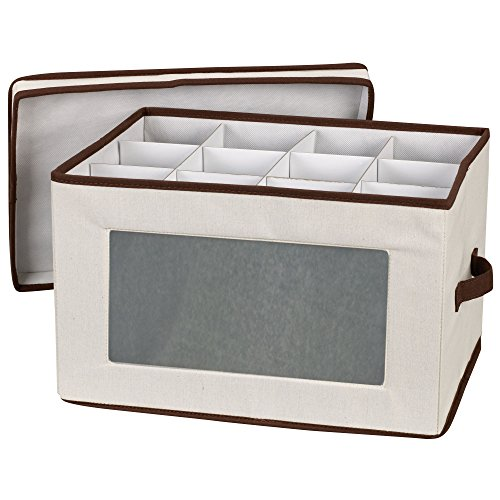 Household Essentials 542 Vision Storage Box with Lid and Handles | Wine and Balloon-Style Glasses | Natural Canvas with Brown Trim (And Cup Saucer Large Extra)