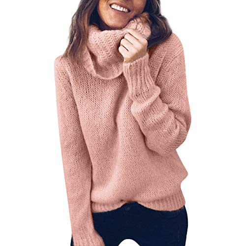 iTLOTL Women Solid Long Sleeve Turtleneck Knitted Sweater Jumper Pullover Top (Pink,M)