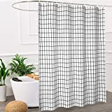 NEWUEBEL Fabric Shower Curtain, White and Black Geometric Resistant Waterproof 72 x 72 inches Long Bathroom Shower Curtain Set (Simple Geometric)