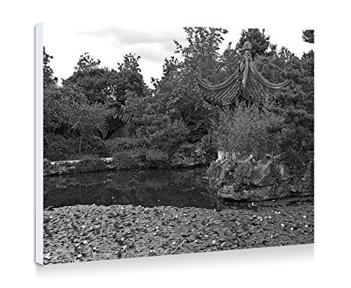 Dr. Sun Yat-Sen Classical Chinese Garden - Nature #34028 - Fine Art Print Wall Art Pictures Stretched For Home Decoration - Ready To Hang - 20x14 Inches - Black and White (Dr Sun Yat Sen Classical Chinese Garden)