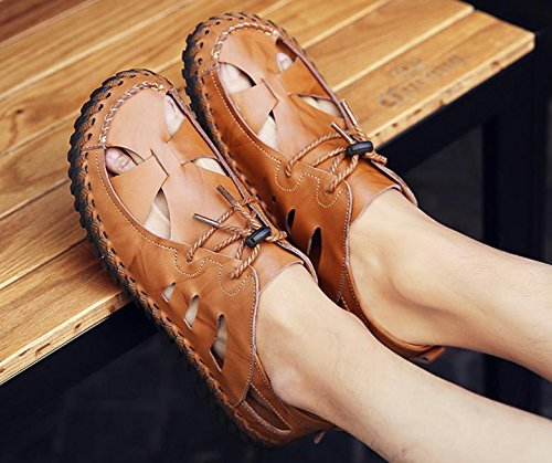 non Brown slip beach sandals leather breathable summer shoes shoes new 2017 men's casual xZwF8z7Xq