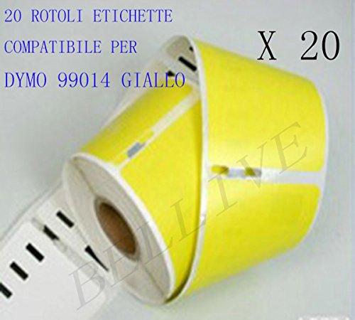 20 Rotoli Etichette adesive compatibile per DYMO 99014 Giallo 101mm X 54mm GIALLO Dymo LabelWriter 310 , 320 , 330 , 330 Turbo , 400 , 400 Turbo , 400 Twin Turbo , 400 Duo , 450 , 450 Turbo , 450 Twin Turbo , 450 Duo. BELLIVESTORE 99014Y