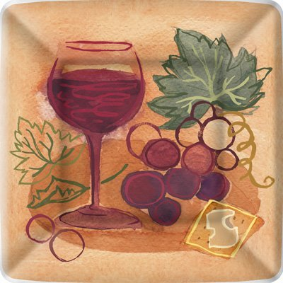 Wine Theme Party Supplies: Bundle Includes Square Paper Dessert Plates & Napkins for 16 Guests in Napa Valley Red & White Wine Designs
