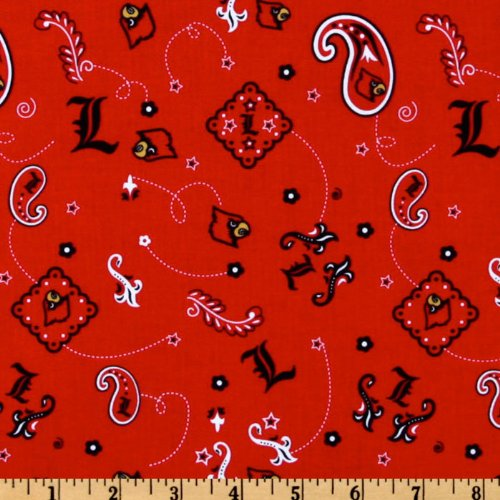 Sykel Enterprises Collegiate Cotton Broadcloth University of Louisville Bandana Red Fabric by The ()