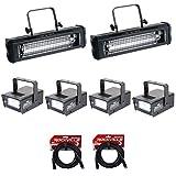 2) American DJ Mega Flash DMX 800W Compact Strobe Lights+4) Mini Strobes+Cables