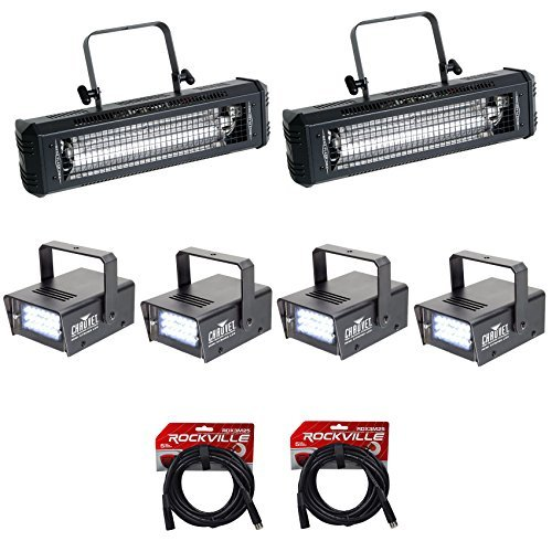 2) American DJ Mega Flash DMX 800W Compact Strobe Lights+4) Mini Strobes+Cables by American DJ