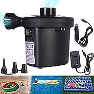 Electric Air Pump, Portable Quick-Fill Air Pump with 3 Nozzles, 110V AC/12V DC, Perfect Inflator/Deflator Pump