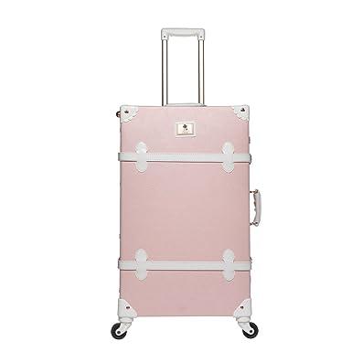 Amazon.com | UNIWALKER Women Embossed Floral Rolling Luggage Pu ...