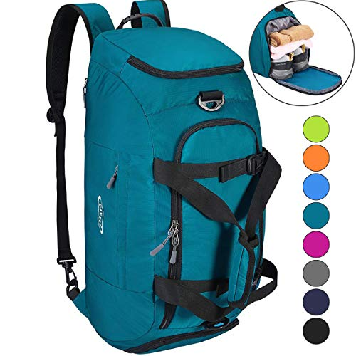 G4Free 3-Way Travel Duffel Backpack Luggage Gym Sports Bag with Shoe Compartment (Cyan) ()