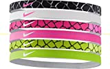 Nike Printed Headbands Assorted 6 Pack BLK-WHT/WHT-PNK/PNK-BLK/VLT-BLK
