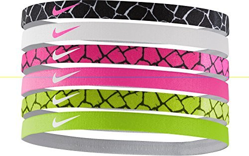 Nike Printed Headbands Assorted 6 Pack BLK-WHT/WHT-PNK/PNK-BLK/VLT-BLK by NIKE